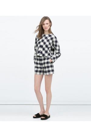 Shorts-femme-Zara-Short-a-carreaux-taille-haute