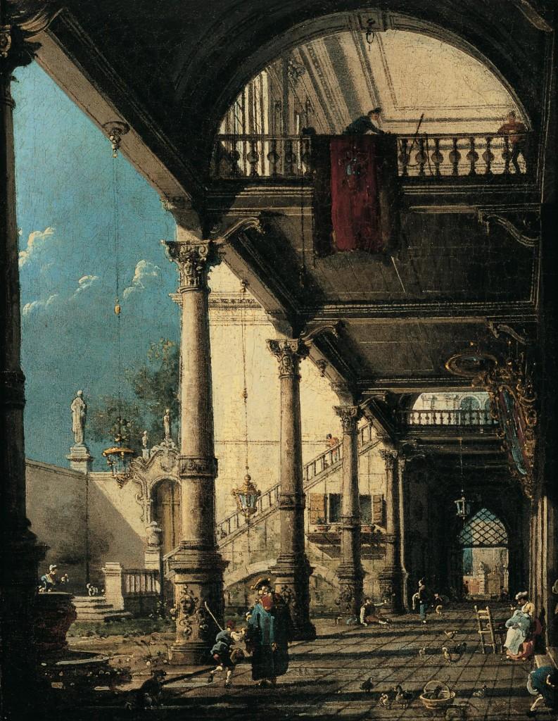 CANALETTO, Capricho con columnata en el interior de un palacio
